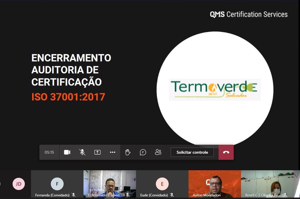 UVS Termoverde Salvador | UVS conquista Certificação ISO 37001 – Norma Internacional para o Sistema de Gestão Antissuborno